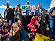 """15 MARCH 2019 - ST. PAUL, MINNESOTA, USA: Students and rally attendees listen to speakers during the MN Youth for Climate Justice """"Climate Strike"""" at the Minnesota State Capitol in St. Paul, MN. Thousands of high school students braved below freezing temperatures and biting winds to demand action on climate change. The Minnesota Climate Strike was inspired by the strike by Greta Thunberg, a Swedish high school student, who started a climate strike at her school in August 2018.      PHOTO BY JACK KURTZ"""