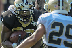 July 28, 2018 - New Orleans, LA, U.S. - METAIRIE, LA. - JULY 28:  New Orleans Saints running back Mark Ingram II (22) and defensive back Kurt Coleman (29) run through a drill during New Orleans Saints training camp practice on July 28, 2018 at the Ochsner Sports Performance Center in New Orleans, LA.  (Photo by Stephen Lew/Icon Sportswire) (Credit Image: © Stephen Lew/Icon SMI via ZUMA Press)