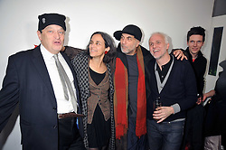 Left to right, SIR NORMAN ROSENTHAL, designer RON ARAD and his wife and restaurant owner MOMO at the Prada Congo Art Party hosted by Miuccia Prada and Larry Gagosian at The Double Club, 7 Torrens Street, London EC1 on 10th February 2009.