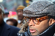 20 February 2009 NY, NY -Spike Lee at Day 2 of New York Post Protest by Rev. Al Sharpton and The National Network against offensive cartoon depicting dead Chimpanzee as President Obama.