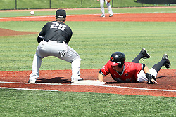 17 April 2016:  Ryan Hutchinson dives back to 2st base ahead of the throw to Logan Blackfan during an NCAA Division I Baseball game between the Southern Illinois Salukis and the Illinois State Redbirds in Duffy Bass Field, Normal IL