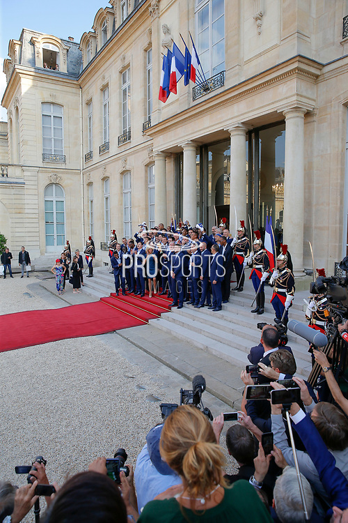Emmanuel Macron, Brigitte Macron, Didier Descahmps, Hugo Lloris, Noel Le Graet and plyers with trophy during the reception of the French team at Elysée after winning the 2018 FIFA World Cup Russia on July 16, 2018 in Paris, France - Photo Stephane Allaman / ProSportsImages / DPPI