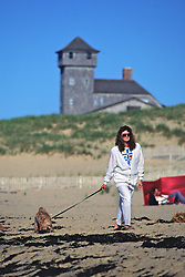 Woman & Dog Walking On Beach