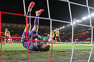 Charlton Athletic goalkeeper Dillon Phillips (1) is beaten by a goal from Hull City forward Jarrod Bowen (20) (1-1) during the EFL Sky Bet Championship match between Charlton Athletic and Hull City at The Valley, London, England on 13 December 2019.