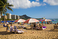 The beach in front of the Royal Hawaiian Hotel in Waikiki, Oahu