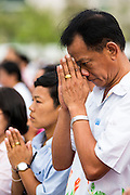 "23 APRIL 2013 - BANGKOK, THAILAND:  People pray during the opening ceremony to mark Bangkok as the World Book Capital City 2013. UNESCO awarded Bangkok the title. Bangkok is the 13th city to assume the title of ""World Book Capital"", taking over from Yerevan, Armenia. Bangkok Governor Suhumbhand Paribatra announced plans that the Bangkok Metropolitan Administration (BMA) intends to encourage reading among Thais. The BMA runs 37 public libraries in the city and has modernised 14 of them. It plans to build 10 more public libraries every year. Port Harcourt, Nigeria will be the next World Book Capital in 2014. .PHOTO BY JACK KURTZ"