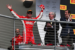 October 21, 2018 - Austin, TX, U.S. - AUSTIN, TX - OCTOBER 21: Ferrari driver Kimi Raikkonen (7) of Finland waves to fans after winning the F1 United States Grand Prix on October 21, 2018, at Circuit of the Americas in Austin, TX. (Photo by John Crouch/Icon Sportswire) (Credit Image: © John Crouch/Icon SMI via ZUMA Press)