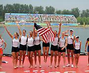 Shunyi, CHINA. GBR M8+,  Women's eights final, Gold medalist USA W8+,  (b)CAFARO Erin, SHOOP Lindsay, GOODALE Anna, LOGAN Elle, CUMMINS Anne, FRANCIA Susan, LIND Caroline, DAVIES Caryn and cox, WHIPPLE Mary. Awards dock, <br />  at the 2008 Olympic Regatta, Shunyi Rowing Course.  17/08/2008 [Mandatory Credit: Peter SPURRIER, Intersport Images