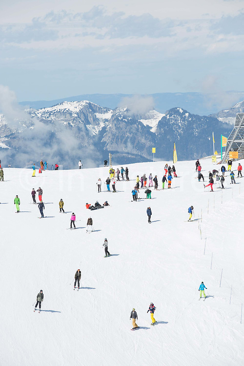 Skiers and snowboarders in the French mountain resort of Avoriaz on 23rd March 2017 in the heart of the Portes du Soleil / Commune of Morzine ski resort in France.