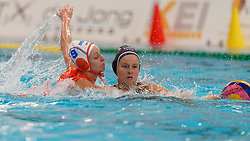 Maartje Keuning #9 of Netherlands, Stephania Haralabidis #7 of USA in action during the friendly match Netherlands vs USA on February 19, 2020 in Amerena Amersfoort.