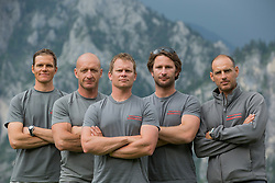 Luna Rossa Challenge competes at the Austria GC32 Cup. In the background the Traunstein mountain. It is the highest mountain on the east bank of Traunsee in the district of Gmunden, Austria. As measured by the height above sea level of its summit it is 1691 metres (5548 ft) high. (28 May - 1 June 2014). Gmunden - Lake Traunsee - Austria.