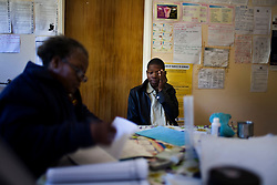 Nthshngose Pumelelo waits to receive treatment for TB at Mnceba Clinic.  This is the second time he has had TB and his mother has also had the disease. This clinic sees many patients with TB and provides free treatment.  South African Gold miners are particularly vulnerable to contracting TB because of the small, poorly ventilated work conditions, high rates of TB and high rates of silicosis, a lung disease often found in miners that increases the chance of catching TB.
