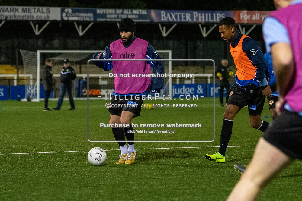 BROMLEY, UK - OCTOBER 30: Karl Dent, of Cray Wanderers FC,  the Kent Senior Cup match between Cray Wanderers and VCD Athletic at Hayes Lane on October 30, 2019 in Bromley, UK. <br /> (Photo: Jon Hilliger)