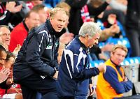 Fotball Landskamp Norge vs Makedonia<br /> VM Kvalifisering 09.09.2009 Ullevaal Stadion Oslo<br /> <br /> Norway vs FYR Macedonia  <br /> <br /> Resultat 2 - 1<br /> <br /> Foto: Robert Christensen Digitalsport<br /> <br /> Norge Trener Norge Egil Drillo Olsen ubeseiret på Ullevaal og jubler sammen med Ola By Rise