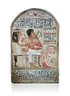 Ancient Egyptian stele of Djehutynefer called Seshu, Scribe, limestone, New Kingdom, 18th Dynasty, (1500-14253 BC), Thebes, Old Fund cat 1638. Egyptian Museum, Turin. white background,<br /> <br /> Djehutynefer called Seshu was the accountant scribe of cattle and fowl in the temple of Amon, and his wife the house mistress Benbu .<br /> <br /> If you prefer to buy from our ALAMY PHOTO LIBRARY  Collection visit : https://www.alamy.com/portfolio/paul-williams-funkystock/ancient-egyptian-art-artefacts.html  . Type -   Turin   - into the LOWER SEARCH WITHIN GALLERY box. Refine search by adding background colour, subject etc<br /> <br /> Visit our ANCIENT WORLD PHOTO COLLECTIONS for more photos to download or buy as wall art prints https://funkystock.photoshelter.com/gallery-collection/Ancient-World-Art-Antiquities-Historic-Sites-Pictures-Images-of/C00006u26yqSkDOM