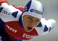 Skøyter: Verdenscup Heerenveen 12.01.2002. Greta Smit fra Nederland.<br /><br />Foto: Ronald Hoogendoorn, Digitalsport