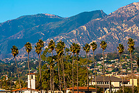 Along Cabrillo Boulevard, Santa Barbara, California USA.