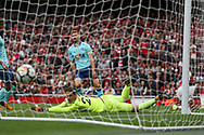 goalkeeper Asmir Begovic of AFC Bournemouth watches the ball hit the back of the net as Danny Welbeck of Arsenal ® scores his teams 3rd goal. Premier league match, Arsenal v AFC Bournemouth at the Emirates Stadium in London on Saturday 9th September 2017. pic by Kieran Clarke, Andrew Orchard sports photography.