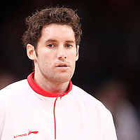 15 July 2012: Rudy Fernandez of Team Spain warms up prior to a pre-Olympic exhibition game won 75-70 by Spain over France, at the Palais Omnisports de Paris Bercy, in Paris, France.
