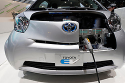 Close up of Toyota EV plug-in electric car at the Geneva Motor Show 2011 Switzerland