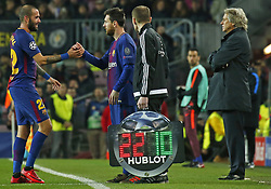 December 5, 2017 - Barcelona, Catalonia, Spain - Leo Messi and Aleix Vidal during the UEFA Champions League match between FC Barcelona v Sporting CP, in Barcelona, on December 05, 2017. (Credit Image: © Joan Valls/NurPhoto via ZUMA Press)