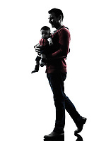 one man father walking with baby in silhouettes on white background
