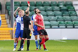 Tom Hopper of Lincoln City is shown the red card - Mandatory by-line: Matt Bunn/JMP - 10/10/2020 - FOOTBALL - LNER Stadium - Lincoln, England - Lincoln City v Bristol Rovers - Sky Bet League One
