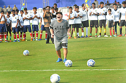 December 12, 2017 - Kolkata, West Bengal, India - Argentina's soccer legend Diego Maradona kicks a football, gestures during a football workshop with school students in Barasat, around 38 Km north of Kolkata on December 12, 2017. Maradona is on a private visit to India. (Credit Image: © Debajyoti Chakraborty/NurPhoto via ZUMA Press)