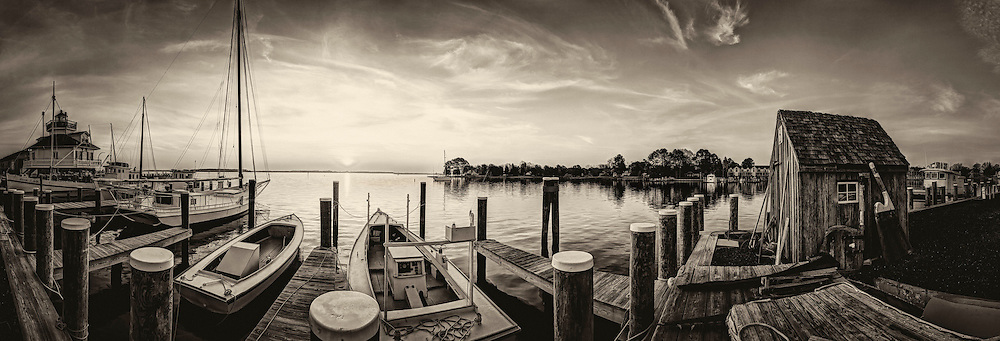 St. Michaels lighthouse and boat dock at sunrises