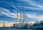 Dar Pomorza zakotwiczony przy Nabrzeżu Pomorskim w Gdyni.