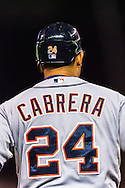Miguel Cabrera (24) of the Detroit Tigers looks on during a game against the Minnesota Twins on August 14, 2012 at Target Field in Minneapolis, Minnesota.  The Tigers defeated the Twins 8 to 4.  Photo: Ben Krause