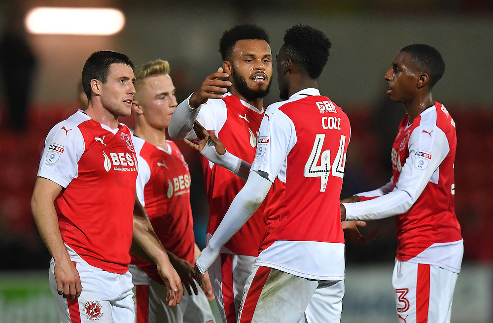 Fleetwood Town's Aaron Holloway is congratulated on scoring his team's opening goal<br /> <br /> Photographer Dave Howarth/CameraSport<br /> <br /> The Emirates FA Cup - First Round Replay - Fleetwood Town v Southport - Tuesday 15th November 2016 - Highbury Stadium - Fleetwood<br />  <br /> World Copyright © 2016 CameraSport. All rights reserved. 43 Linden Ave. Countesthorpe. Leicester. England. LE8 5PG - Tel: +44 (0) 116 277 4147 - admin@camerasport.com - www.camerasport.com