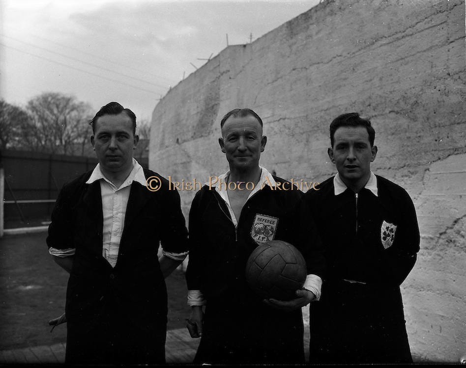 14/12/1952<br /> 12/14/1952<br /> 14 December 1952<br /> Shamrock Rovers v Waterford at Milltown Park, Dublin. The referee and linesmen for the game.