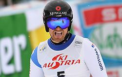 14.02.2020, Zwölferkogel, Saalbach Hinterglemm, AUT, FIS Weltcup Ski Alpin, Super G, Herren, im Bild Maurr Platzo Caviezel (SUI) zweiter Platz // Mauro Caviezel of Switzerland second place reacts after his run for the men's SuperG of FIS Ski Alpine World Cup at the Zwölferkogel in Saalbach Hinterglemm, Austria on 2020/02/14. EXPA Pictures © 2020, PhotoCredit: EXPA/ Erich Spiess