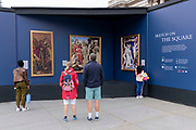 some of the paintings placed outside the National Gallery to show the public what can be seen in their galleries, on 1st September 2021, in Trafalgar Square, London, England.