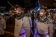 New York, NY - 31 October 2015. Two men wearing space suits in the annual Greenwich Village Halloween Parade.