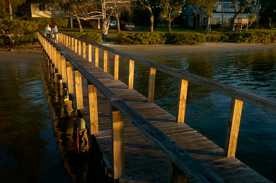 Dock going out to the water on Sneed Island. Palmetto, Florida.