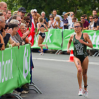 Emma Snowsill (AUS) runs during the ITU women's elite triathlon world championships series final she won in Budapest, Hungary, Sunday, 12. September 2010. ATTILA VOLGYI