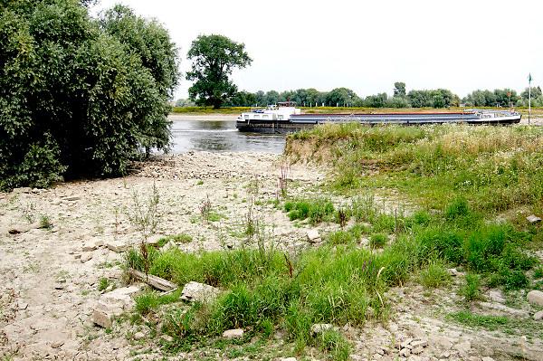 Nederland, Warnsveld, 19-7-2018 Warme zomerse dag . Het waterpeil is erg laag vanwege de aanhoudende extreme droogte, uitblijven van regen, waardoor de binnenschepen minder vracht kunnen vervoeren . Hierdoor is het drukker op de rivier. Het zwemmen in de rivieen is gevaarlijk vanwege de veraderlijke stroming en de drukke scheepvaart. Foto: Flip Franssen