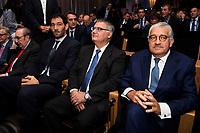 FEB president Jorge Garbajosa, ACB president Francisco Roca and CEO Endesa Jose Bogas during the presentation of the new season of La Liga Endesa 2016-2017 in Madrid. September 20, 2016. (ALTERPHOTOS/Borja B.Hojas)