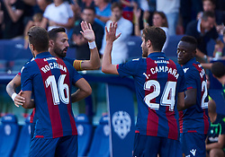 September 30, 2018 - Valencia, U.S. - VALENCIA, SPAIN - SEPTEMBER 30: Jose Luis Morales, Ruben Rochina, Jose Campa–a and Boateng of Levante UD celebrates the goal during the La Liga match between Levante UD and Deportivo Alaves at Estadio Ciutat de Valencia on September 30, 2018, in Valencia, Spain. (Photo by Carlos Sanchez Martinez/Icon Sportswire) (Credit Image: © Carlos Sanchez Martinez/Icon SMI via ZUMA Press)