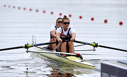 Great Britain's Rowan McKellar and Harriet Taylor in the Women's Pairs Heat One race during day one of the 2018 European Championships at the Strathclyde Country Park, North Lanarkshire.