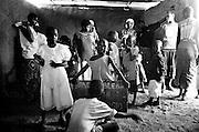 LOKICHOGGIO, KENYA - JANUARY 15, 2008: Kenyans attend a service at Grace Bible Church.