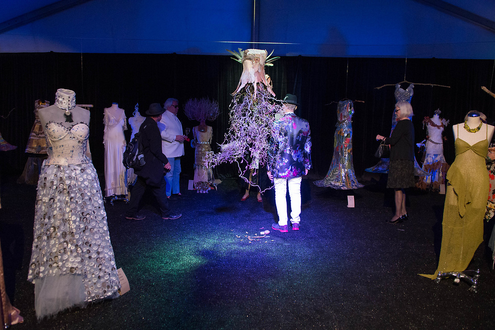 2018 Fashion Week El Paseo, in Palm Desert, California. Fashion week kicks off in the desert with the opening night theme of California Dreamin' featuring designers Michael Costello, Trina Turk, Mr. Turk and Ali Rahimi for Mon Atelier. Eve's Garden Exhibition featuring Narrative Gowns, Stitched Storytelling by artists igi Eckert, Melinda Forbes, Julie Frankel, and Meg Johnson.  Photos by Tiffany L. Clark