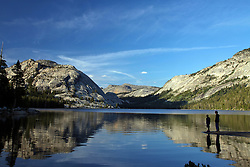 Tenaya Lake, Tenaya Dome, reflection, sightseers, Yosemite National Park