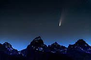 Comet Neowise putting on a show above the Grand Tetons of Jackson Hole Wyoming.