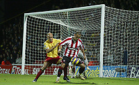 Photo: Marc Atkins.<br /> Watford v Sheffield United. The Barclays Premiership. 28/11/2006. Danny Webber (R) of Sheffield Utd in action with Gavin Mahon of Watford.