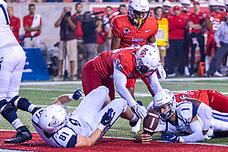 NORMAL, IL - September 04: Nick Orlando losses control of the football but the play has already been whistled dead by contact short of a touchdown during a college football game between the Bulldogs of Butler University and the ISU (Illinois State University) Redbirds on September 04 2021 at Hancock Stadium in Normal, IL. (Photo by Alan Look)