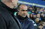 Everton Manager Roberto Martinez  looks on prior to kick off. The Emirates FA cup, 3rd round match, Everton v Dagenham & Redbridge at Goodison Park in Liverpool on Saturday 9th January 2016.<br /> pic by Chris Stading, Andrew Orchard sports photography.