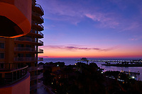 Colors at Dawn over Tampa Bay from a Vinoy Hotel Balcony in St. Petersburg, Florida. Image taken with a Nikon D300 camera and 14-24 mm f/2.8 lens..